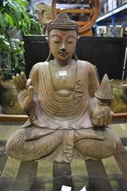 Sale 8099 - Lot 816 - Solid Wooden Sitting Buddha