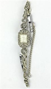 Sale 8196F - Lot 306 - A LADYS TALBOT MARCASITE WRIST WATCH; with a manual 17 jewell movement in stainless steel.