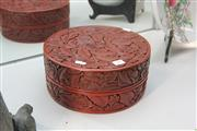 Sale 8292 - Lot 19 - Chien Lung Marked Carved Cinnabar Lacquer Circular Covered Flower Box