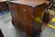 Sale 8520 - Lot 1045 - 19th Century English Colonial Campaign Chest of Five Drawers, probably teak, in two sections & with inset metal handles