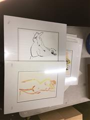Sale 8750 - Lot 2100 - Group of (8) charcoal and pastel Nude Studies by Val Landa (mounted/unframed) -