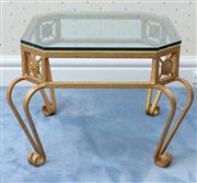 Sale 8815A - Lot 89 - An Octagonal form glass top metal coffee table with foliate roundels, H x 49cm, W 60cm, D x 60cm