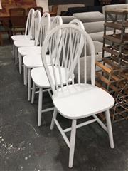 Sale 8889 - Lot 1429 - Set of Six White Spindle Back Dining Chairs