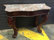 Sale 9014 - Lot 1003 - Victorian Mahogany Serpentine Front Console Table, with brown-grey mottled top, raised on cabriole legs (H:83.5 x W:106 x D:41.5cm)