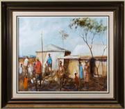 Sale 8313A - Lot 29 - Hugh Sawrey - Aboriginal stockmen and their swags 50 x 59cm