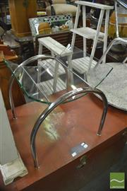 Sale 8331 - Lot 1567 - Curved Glass Top on Chrome Base Magazine Stand