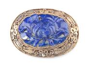 Sale 8369A - Lot 314 - A silver gilt lapis lazuli carved floral form brooch
