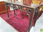 Sale 8428 - Lot 1043 - Chinese Carved Side Table, with stylised coin and rope frieze & scrolled brackets with ruyi.