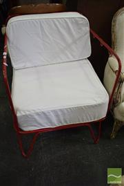 Sale 8532 - Lot 1290 - Red Metal Framed Chair with Cushion Back & Seat