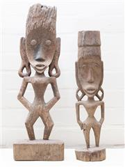 Sale 8550H - Lot 148 - A pair of Papua New Guinean timber figures, larger H 62cm