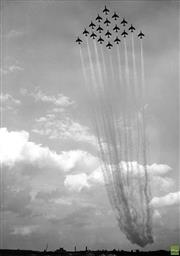 Sale 8721A - Lot 52 - Artist Unknown - Hunter Jet Fighters in formation above Farnborough, 1960 21 x 15cm