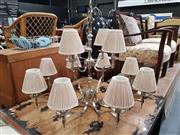 Sale 8724 - Lot 1099 - Modern Chrome Chandelier with Twelve Arms