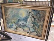 Sale 8767 - Lot 2012 - Joan Dent - Courtship-Ibis at Careel Bay, oil on board,  75 x 105cm (frame size), signed lower right