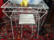 Sale 8777 - Lot 1032 - Glass Top Side Table with Matching Footstool