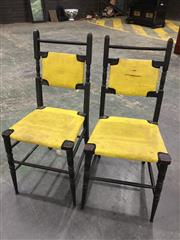 Sale 9006 - Lot 1038 - Pair of Vintage Ebonised Timber Dining Chairs (H:88 x W:40 x D:50cm)