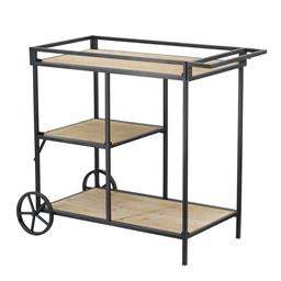 Sale 9140F - Lot 207 - A modern bar cart made with a metal frame & three wooden tiers. Also features two back wheels for easy manoeuvring. Dimensions: W82 ...