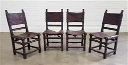 Sale 9183 - Lot 1038 - Set of 4 Spanish hardwood dining chairs with leather sling seats (h:95 x w:48 x d:40cm0