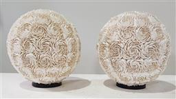 Sale 9183 - Lot 1076 - Pair of shell covered table lamps (h:33cm)