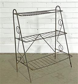 Sale 9188 - Lot 1710 - Vintage 3-tiered plant stand (h87 x w71 x d40cm) (custom made cuttings) -