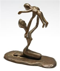 Sale 9238 - Lot 64 - A bronze figural group of mother and child (H:19.5cm)