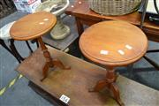 Sale 8013 - Lot 1144 - Pair Of Small Timber Wine Tables