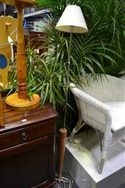 Sale 8039 - Lot 1035 - Chrome and Timber Standard Lamp, Turned Timber Jardiniere Stand & Magazine Rack