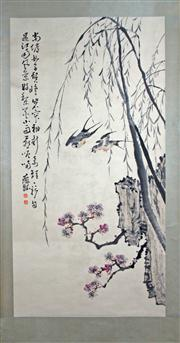 Sale 8221 - Lot 45 - Huang Shen Signed Swallows with Plum Blossom Hand Painted Watercolour Scroll