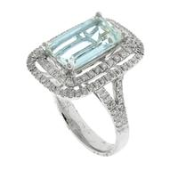 Sale 8221A - Lot 35 - 18ct White Gold Aquamarine and Diamond Ring; centering a step cut aquamarine estimated 3.01ct, to shoulders and double border set wi...