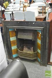 Sale 8406 - Lot 1165 - Cast Iron Fire Surround w Tile Decoration