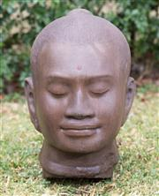 Sale 8422A - Lot 25 - A stoneware Buddha head, height 45cm
