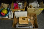 Sale 8497 - Lot 2398 - 4 Boxes of Assorted Goods incl Humax HD Player, Part Modern Light Fitting, Cooking Wares etc