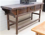 Sale 8550H - Lot 145 - An antique chinese elm altar table with internal storage, L 192 x H 86 x D 53cm