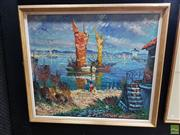 Sale 8622 - Lot 2071 - Artist Unknown - Seaside Village oil on canvas 75 x 85cm  (frame size) signed lower left