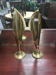 Sale 8693 - Lot 1073 - Pair of Brass Conical Vases, of lily form with beaten finish rim