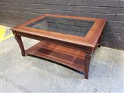 Sale 9014 - Lot 1041A - Contemporary Olivewood Coffee Table, with glass panel top & lower shelf (H:46 W:110 D:79cm)