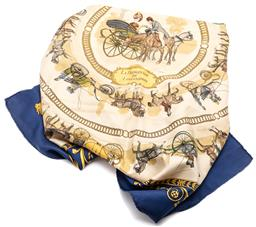 Sale 9132 - Lot 456 - AN HERMES LA PROMENADE DE LONGCHAMPS SCARF, navy blue ground with hand rolled edges, 90 x 90cm, some wear including minor stains.
