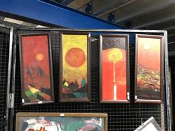 Sale 9163 - Lot 2021 - Wayan L (4 works) Variations of a Sunset, 2004, oil on board, frame: 54 x 24 cm each, each signed and dated