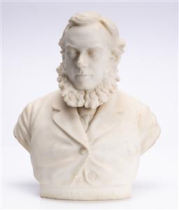 Sale 9185E - Lot 25 - A marble bust of James Duncan, some losses, Height 42cm