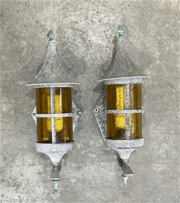 Sale 9188 - Lot 1748 - Pair of alloy wall mount garden lanterns with amber glass shades (h45 x w16 x d17cm) -