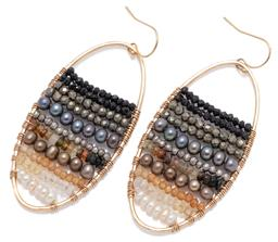 Sale 9213 - Lot 336 - A PAIR 9CT GOLD STONE SET EARRINGS; oval hoops set with rows of faceted onyx, pyrite, cultured freshwater pearls, various quartz bea...