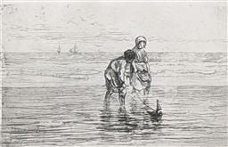 Sale 9237A - Lot 5076 - JOSEF ISRAELS (1824-1911) (DUTCH) Children and Toy Sailboat etching 15 x 23 cm (frame: 35 x 48 cm) signed lower left