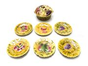 Sale 8202A - Lot 99 - A Sarreguemines majolica seven piece dessert service, large mixed fruit tureen and six side plates