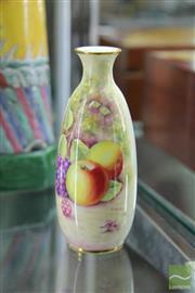 Sale 8226 - Lot 38 - Royal Worcester Flower Fruit Vase Signed D.Shinnie