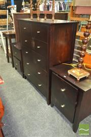Sale 8257 - Lot 1049 - Chest of Six Drawers & Pair of Bedside Cabinets