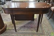 Sale 8267 - Lot 1062 - George III Mahogany D Top Tea Table, with string inlay & tapering legs