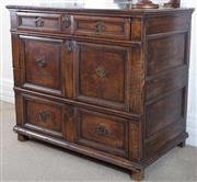 Sale 8800 - Lot 58 - A mid C17th oak chest, H 78 x W 89 x D 55cm (Prov Christopher Davies Antiques)