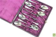 Sale 8477 - Lot 63 - Cased Set of HMSS Coffee Spoons & Nips, Chester 1895, WA