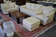 Sale 8550 - Lot 1394 - White Leather Contemporary 4 Piece Lounge Suite