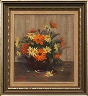 Sale 8659 - Lot 2056 - June Jones - Daisies, 1983 , oil on canvas on board, 44.5 x 39.5cm, signed and dated lower left