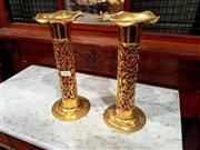 Sale 8693 - Lot 1094 - Pair of Ornate Brass Cylindrical Vases, with pierced body & red glass liners